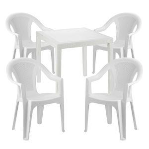 Sitzgarnitur Bistrogarnitur 5-teilig Weiß