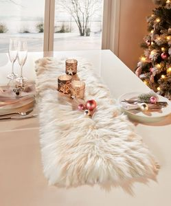 Tischläufer 'Felloptik' Textil Deko Wohnzimmer Esszimmer Terasse Garten Balkon