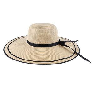 Frauen Breiter Krempe Strohhut Panamahut Sonnenhut Sommer Sonne Strand Hut Farbe Beige