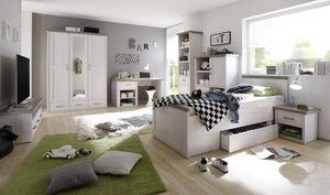 Luca 1 Jugendzimmer Set Komplettset Kinderzimmer Schlafzimmer Pinie Weiß