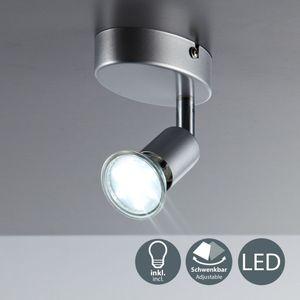 LED Deckenleuchte schwenkbar Deckenstrahler Deckenspot inkl. 3W GU10 Leuchtmittel Warmweiss Metall/Titanfarbig  B.K.Licht