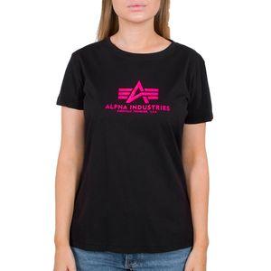 Alpha Industries Damen New Basic T-Shirt Neon Print black/neon pink L