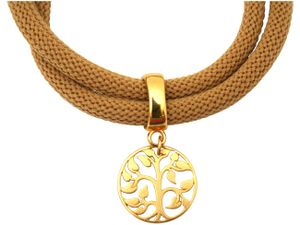 Damen Armband Wickelarmband 925 Silber Vergoldet Lebensbaum Braun