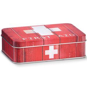 Praktische Erste-Hilfe-Kasten, Medizin-Box First Aid, Metall, rote Farbe