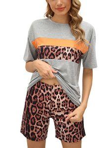 Sexydance Frauen Leopardenmuster Schlafanzüge Zweiteiliger Anzug Pyjamas Set Homewear,Farbe:Grau,Größe:M