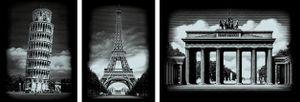 Scraper Kratzbilder 3er Set Silber - Bauwerke