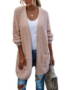 Damen Farbblock drapiert Kimono Cardigan Langarm Open Front Casual Strickpullover Mantel,Farbe: Rosa,Größe:XL