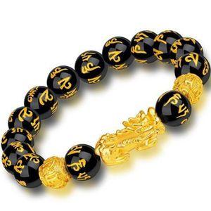 Feng Shui Obsidian Stein Perlen Armband Männer Frauen Unisex Armband Gold Schwarz Pixiu Reichtum und Glück Frauen Armband  Pixiu Armbänder