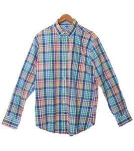 FYNCH-HATTON Karo-Hemd trendiges Herren Langarm-Hemd mit Button-Down-Kragen Bunt, Größe:L