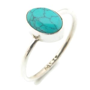 Türkis Ring 925 Silber Sterlingsilber Damenring blau grün (MRI 100-15),  Ringgröße:50 mm / Ø 15.9 mm