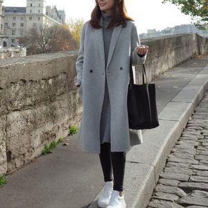 Damen Woll-Mantel Light Coat Trenchcoat Frauen Mantel Outwear Größe: S, Farbe: Grau