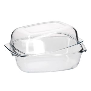 Brat/Backform 4+3L Deckel groß Auflaufform eckig Glas hitzebeständig Koch Gastro backofentauglich