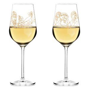 Ritzenhoff Wein-Ensemble Weißweinglas-Set Burkhard Neie, Dionysos & Ariadne / Zeus & Leto, Kristallglas, 364 ml, 3410001
