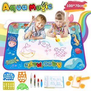 Ounuo Zaubermaltafel Groß Maltafel Zaubertafeln für Kinder ab 3 Jahren Pädagogisches Spielzeug Geschenk Stempeln Zeichenbrett Wasser Doodle Matte Aqua Magic Doodle Zeichnen Malmatte Drawing Painting Matte für Baby Toddler (Aqua Magic)