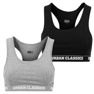 Urban Classics Damen Sport-BH Logo Bra TB1490 Schwarz Black XXL