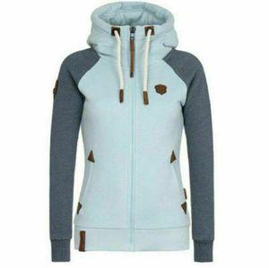 Womens Fleece Zip Up Hoodies Hooded Ladies Swetshirt Jumper Jacket Hoody Coats, Farbe:Blau-Grau, Größe:3XL