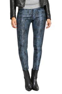 BLUE FIRE Co Chloe Skinny-Jeans einzigartige Denim Damen 5-Pocket-Jeans im Glencheckmuster Blau, Größe:W26/L29
