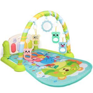 Krabbeldecke mit Musik und Lichtern, Spielmatte für Babys mit  Spielbogen, Baby Spieldecke Babybett ab 0 Monaten Blau