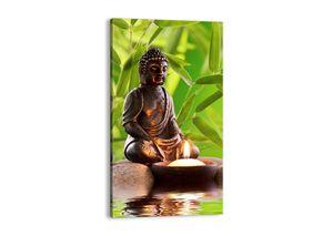 "Leinwandbild - 45x80 cm - ""Das Leben ist wunderschoen""- Wandbilder - Statue Buddha Glaube - Arttor - PA45x80-2392"