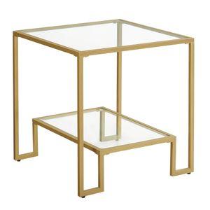 VASAGLE Beistelltisch, Nachttisch, 50 x 50 x 50 cm, 2 Ablagen aus Hartglas, Stahlgestell, für Wohnzimmer, Schlafzimmer, goldfarben LGT032A01
