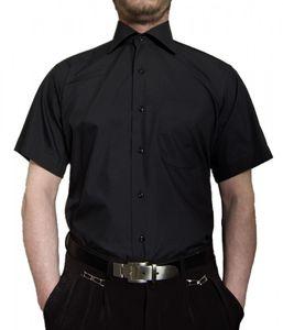 Designer Herren Kurz Arm Hemd Bügelfrei klassischer Kragen Herrenhemd Kentkragen viele Farben Kurzarm, Größe klassische Hemden:43 / XL, Farbe Klassische Hemden:Schwarz