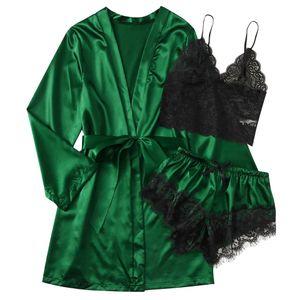 Satin Silk Pyjamas Frauen Nachthemd Dessous Roben Unterwäsche Nachtwäsche y Größe:XXL,Farbe:Grün