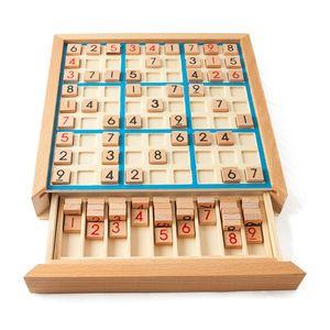 Lixada Holz Sudoku Brett Spiele Mit Schublade  Brettspiele-Blau