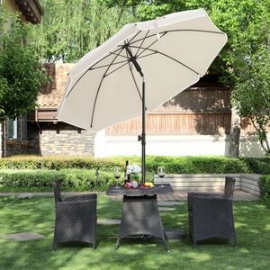 SONGMICS Sonnenschirm Ø 160 cm | UV Schutz UPF 50+ | Gartenschirm aus Polyester Sonnenschutz Schirmrippen aus Glasfaser Beige GPU60WTV1