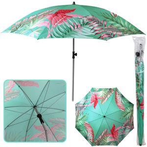 Sonnenschirm Tropical Ø 180 cm grün Strandschirm knickbar UV 40+ Sonnenschutz Gartenschirm verstellbar Schirm Terrassenschirm