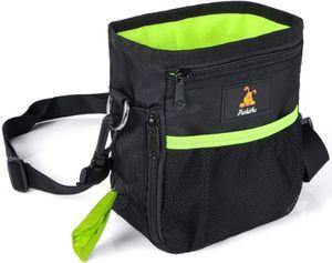 Futterbeutel für Hunde, Trainingsbeutel mit Eingebautem Poop Tasche Spender, Abwaschbar Futtertasche für Hund, Leckerlitasche mit Clip, Verstellbarer Taillen/Schulterriemen