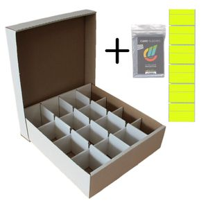 Riesen Deck-Box - Aufbewahrung (weiß) mit 16 Fächern für TCGs + collect-it Hüllen und Beschriftungsetiketten