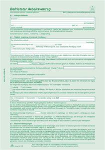 Befristeter Arbeitsvertrag - SD, 2 x 2 Blatt, DIN A4, + 1 Seite, DIN A4, mit Hinweisen   Verkaufsmenge:  10 Stück