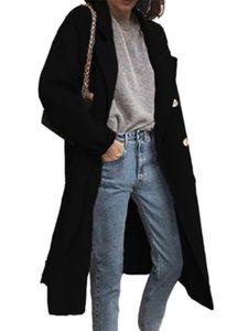 Damen Wollmantel Trenchcoat Damen warmen langen Mantel,Farbe: schwarz,Größe:3XL