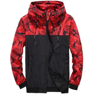Herren Camouflage Workwear Kapuzenjacke Mit Farbblock-Reißverschluss,Farbe: Rot,Größe:L