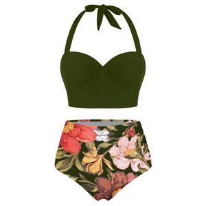 Women Floral Print High Waist Crop Tops+Shorts Two Piece Swimwear Halter Tankini Größe:XXL,Farbe:Grün
