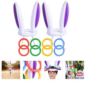 2 Sätze aufblasbare Ringwurfspiele Easter Rabbit Throwing Ring Toss Game