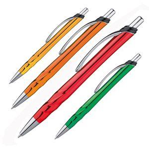 4 Metallic Kugelschreiber / Farbe: je 1x rot, grün, orange und gold