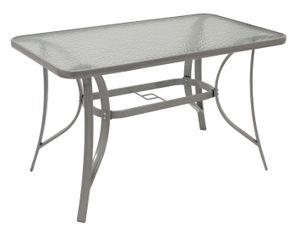 DEGAMO Gartentisch Esstisch Glastisch Tisch 120x70cm, Metall grau + Sicherheitsglas