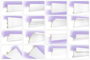 LED Profile aus Polyurethan- lichtundurchlässig, leicht und schlagzäh - Tesori Stuckleisten, Menge:Max. Paket (bester Meterpreis), Alle Modelle:KF503 - 100 x 45 mm