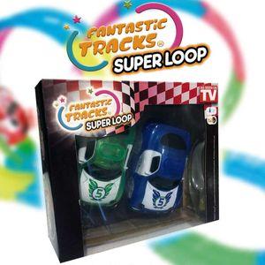 Fantastic Tracks® Rennbahn Loop Ersatz Auto Set 2 Stück Grün + Blau - Ersatz Auto für Super Loop  - Original aus TV-Werbung