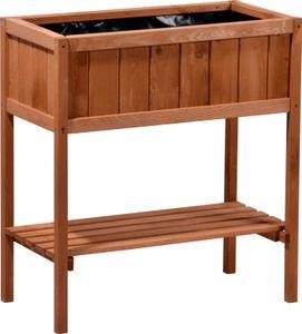 dobar Hochbeet aus Holz mit Ablageboden, Frühbeet Bausatz für Gemüse, Kräuter im Garten und Balkon, 76 x 40 x 80 cm, braun