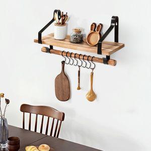COSTWAY Schweberegal mit 8 abnehmbaren Haken und Stange, Wandregal aus Holz, rustikales Lagerregal für Küche, Wohnzimmer, Schlafzimmer oder Badezimmer, 43 x 17 x 23 cm