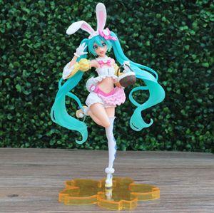 HATSUNE MIKU Figur Anime Figuren Modell Actionfiguren Desktop Ornamente Frühlingskleidung Hasen Ohren Häschenkleid