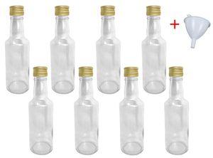 Glasflaschen 200 ml mit Schraubverschluss zum selbst Befüllen für Öl Likör Schnaps Bier Wasser Flasche leere Flaschen inkl. Trichter, Stückzahl:8x