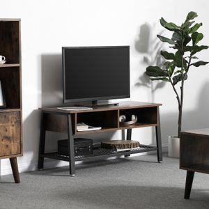 VASAGLE TV-Schrank 2 Schubladen | 100 x 50 x 40 cm | Lowboard mit Metallgestell und Gitterablage | Holzoptik | stabil |  Fernsehtisch Vintage LTV92X