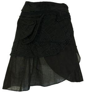 Extravaganter Wickelrock mit Stickerei, Seitlicher Kleinen Tasche - Schwarz, Damen, Baumwolle, Röcke / Kurz