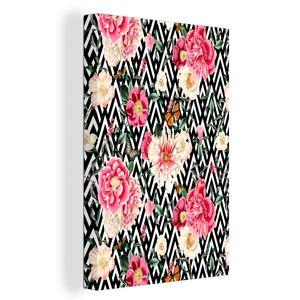 Leinwandbild - Blumen - Muster - Abstrakt - 20x30 cm - Foto auf Leinwand - Gemälde auf Holzrahmen