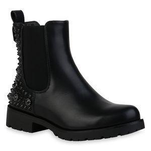 Mytrendshoe Damen Chelsea Boots Nieten Leicht Gefütterte Stiefeletten Schuhe 835525, Farbe: Schwarz, Größe: 36