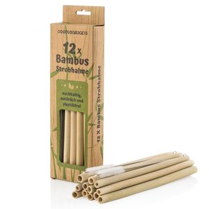 Bambus Strohhalme 12er Set - NachhaltigeTrinkhalme mit Reinigungsbürste