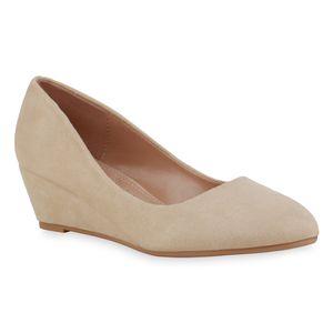 Mytrendshoe Damen Pumps Keilpumps Spitze Klassische Keilabsatz Schuhe 835042, Farbe: Creme, Größe: 37
